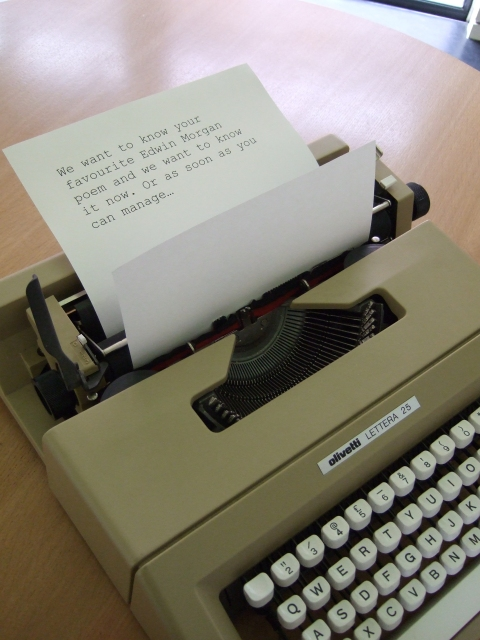 Typewriter - from shop in Glasgow; typewritten note - photographer's own